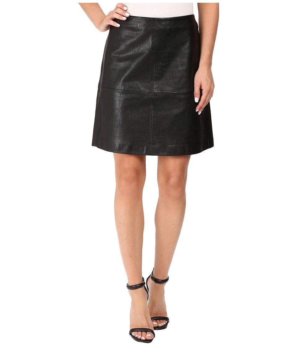 Vince Camuto - Back Zip Distressed Pleather Skirt (Rich Black) Women's Skirt