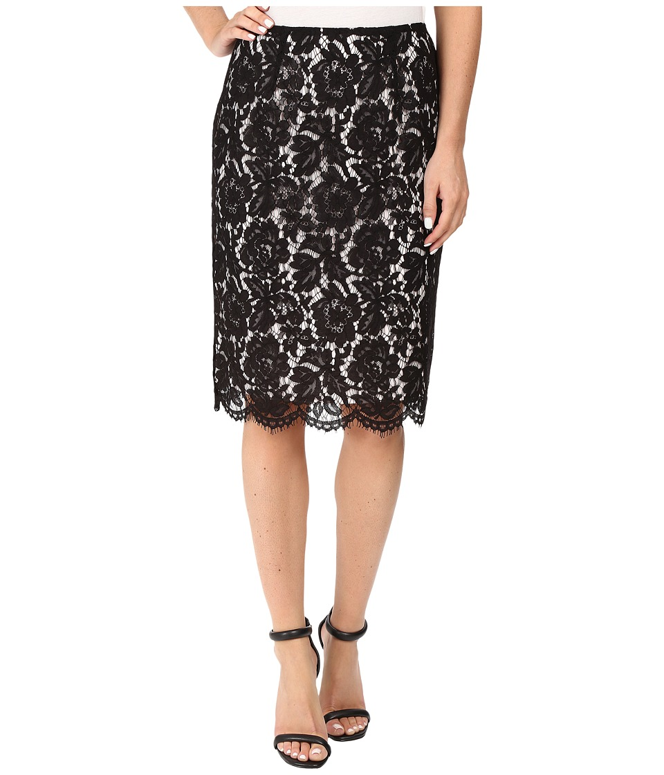 Vince Camuto - Scallop Lace Pencil Skirt (Rich Black) Women's Skirt