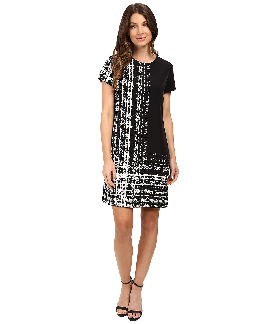 Vince Camuto Cap Sleeve Textural Track Shift Dress (New Ivory) Women