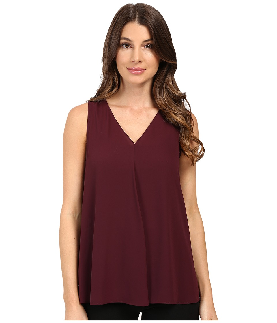 Vince Camuto - Sleeveless V-Neck Drape Front Blouse (Raisin) Women's Blouse