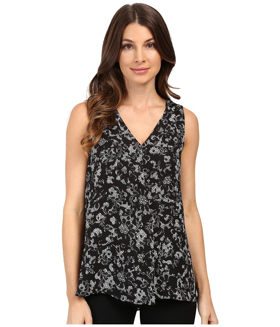 Vince Camuto - Sleeveless V-Neck Lace Provincial Drape Front Blouse (Rich Black) Women's Blouse
