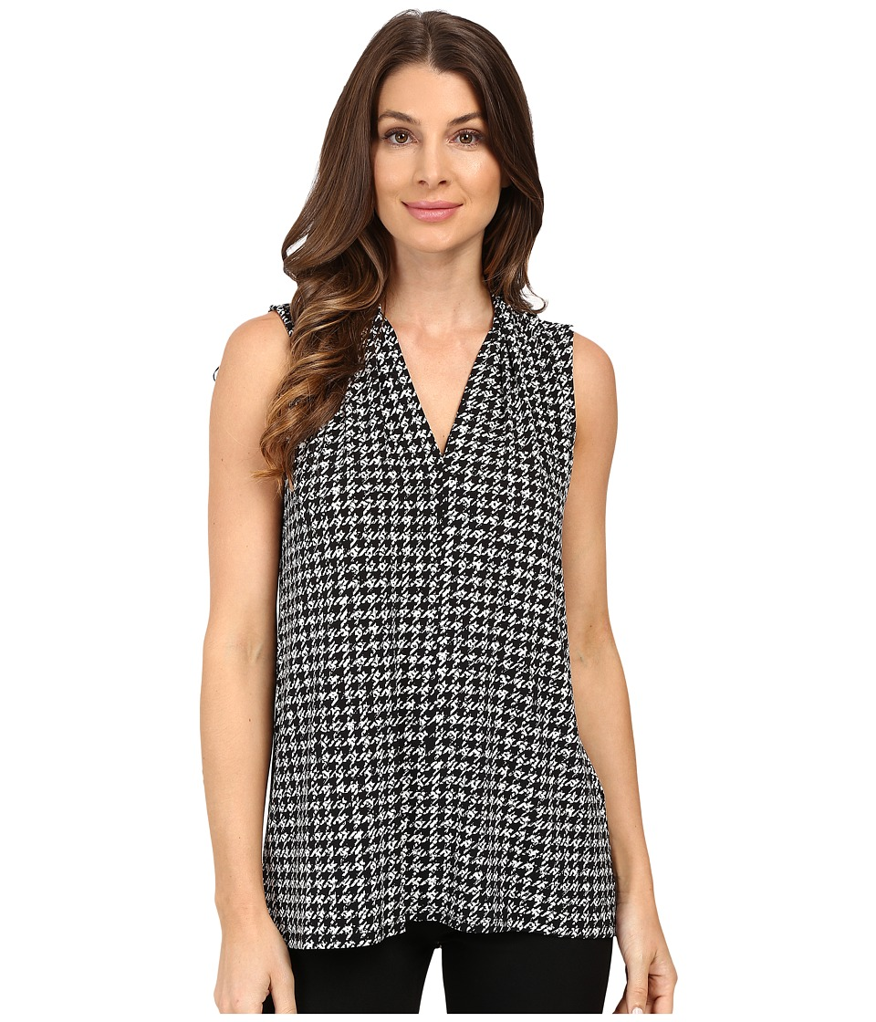 Vince Camuto - Sleeveless Check Memoir V-Neck Top (Antique White) Women's Clothing