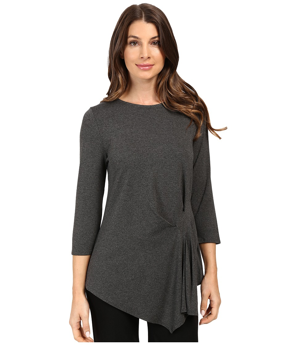 Vince Camuto - 3/4 Sleeve Side Ruched Top (Medium Heather Grey) Women's Clothing