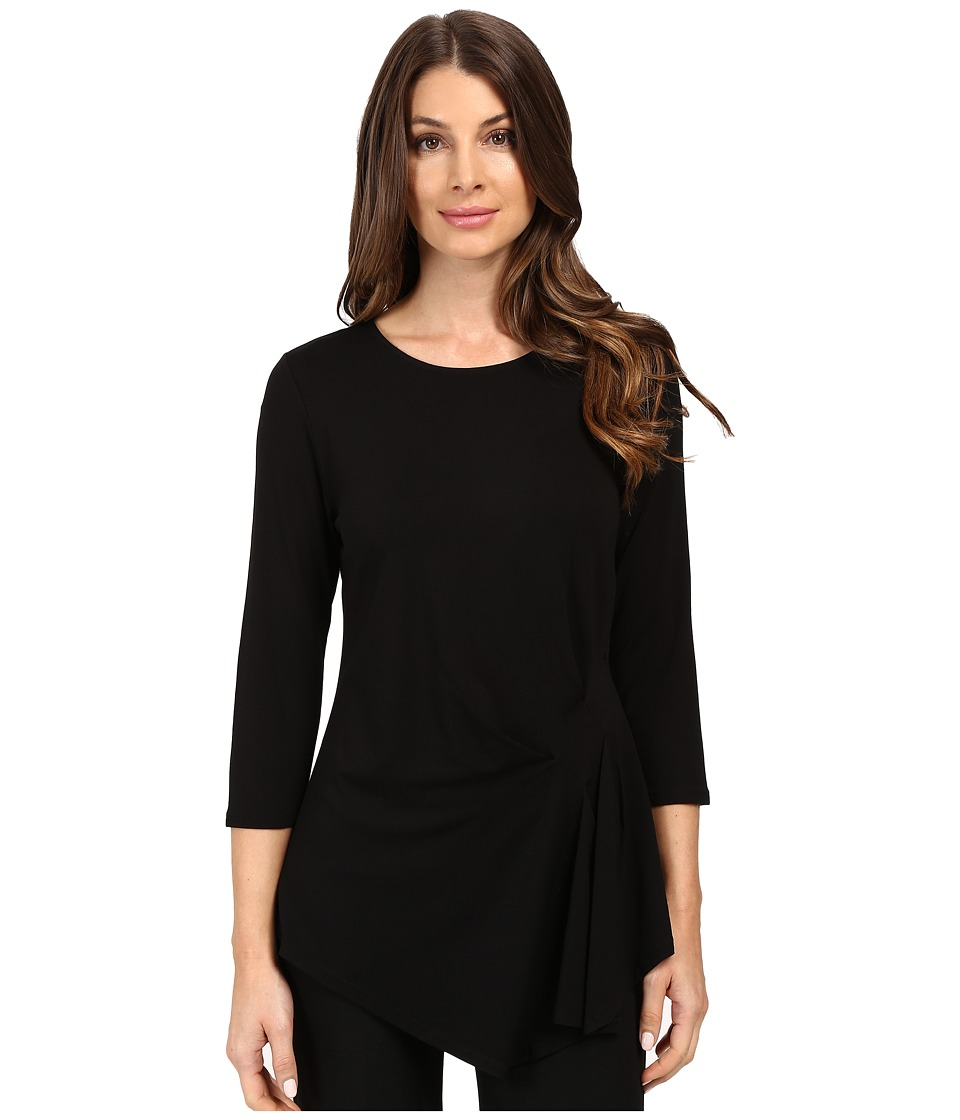 Vince Camuto - 3/4 Sleeve Side Ruched Top (Rich Black) Women's Clothing