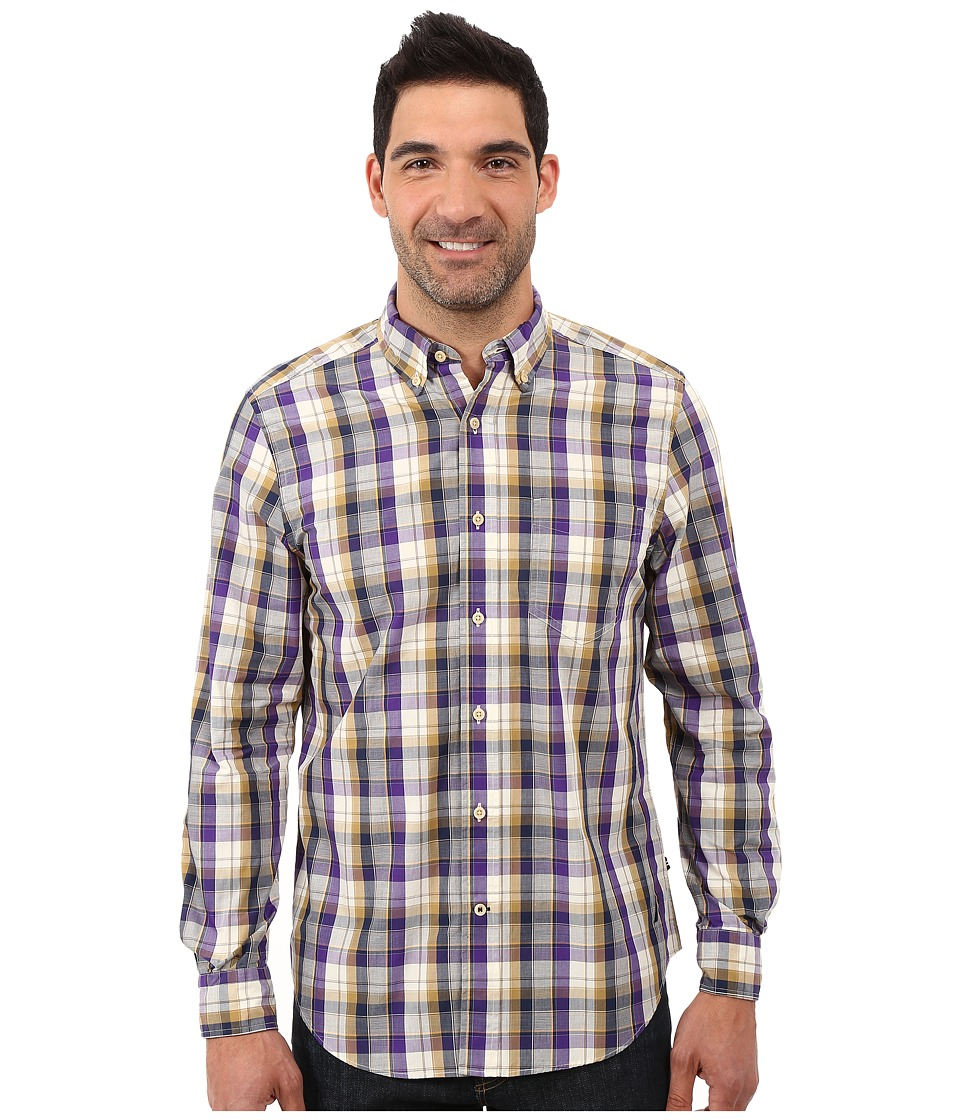Nautica - Long Sleeve Plaid Shirt w/ Pocket (Majestic Purple) Men's Long Sleeve Button Up
