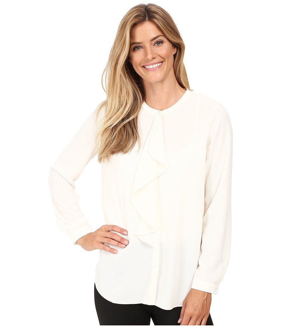 Vince Camuto - Long Sleeve Ruffle Front Blouse (Antique White) Women's Blouse