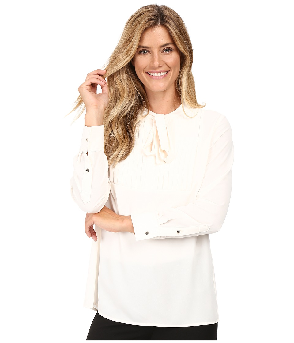 Vince Camuto - Long Sleeve Tie Neck Pleated Tuxedo Blouse (Antique White) Women's Blouse