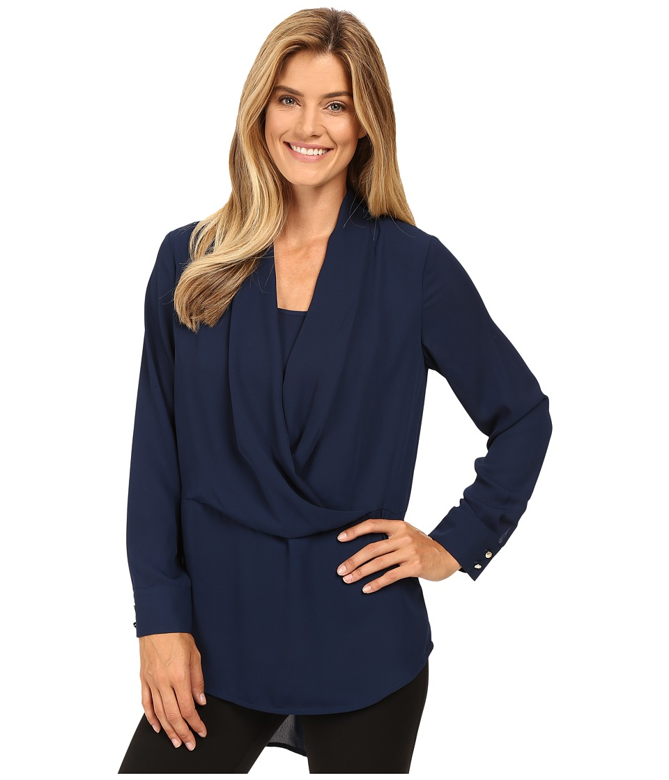 Vince Camuto - Long Sleeve Wrap-Front Tunic (Naval Navy) Women's Blouse