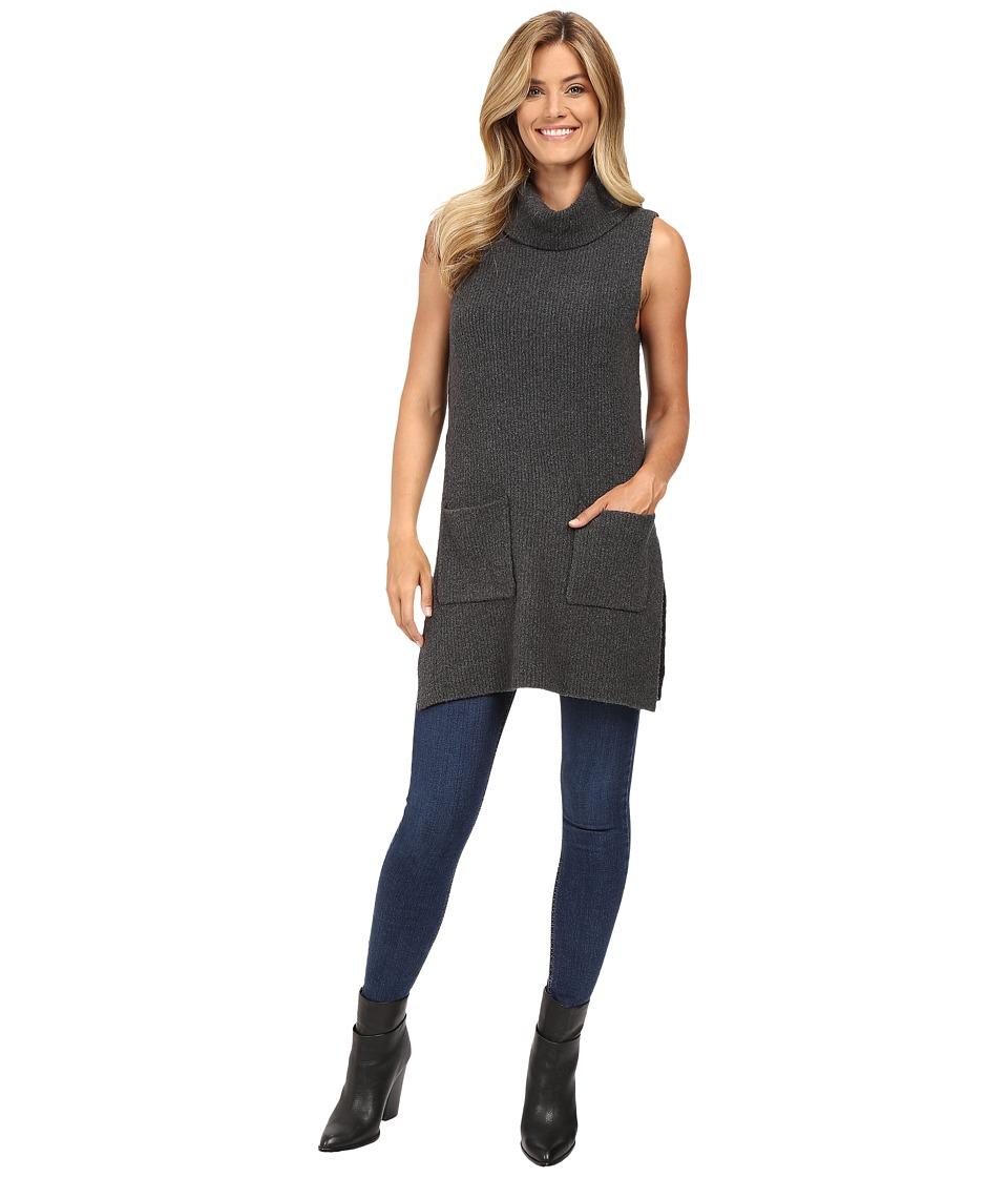 Vince Camuto - Sleeveless Turtleneck Two-Pocket Boucle Sweater Tunic (Medium Heather Grey) Women's Sweater