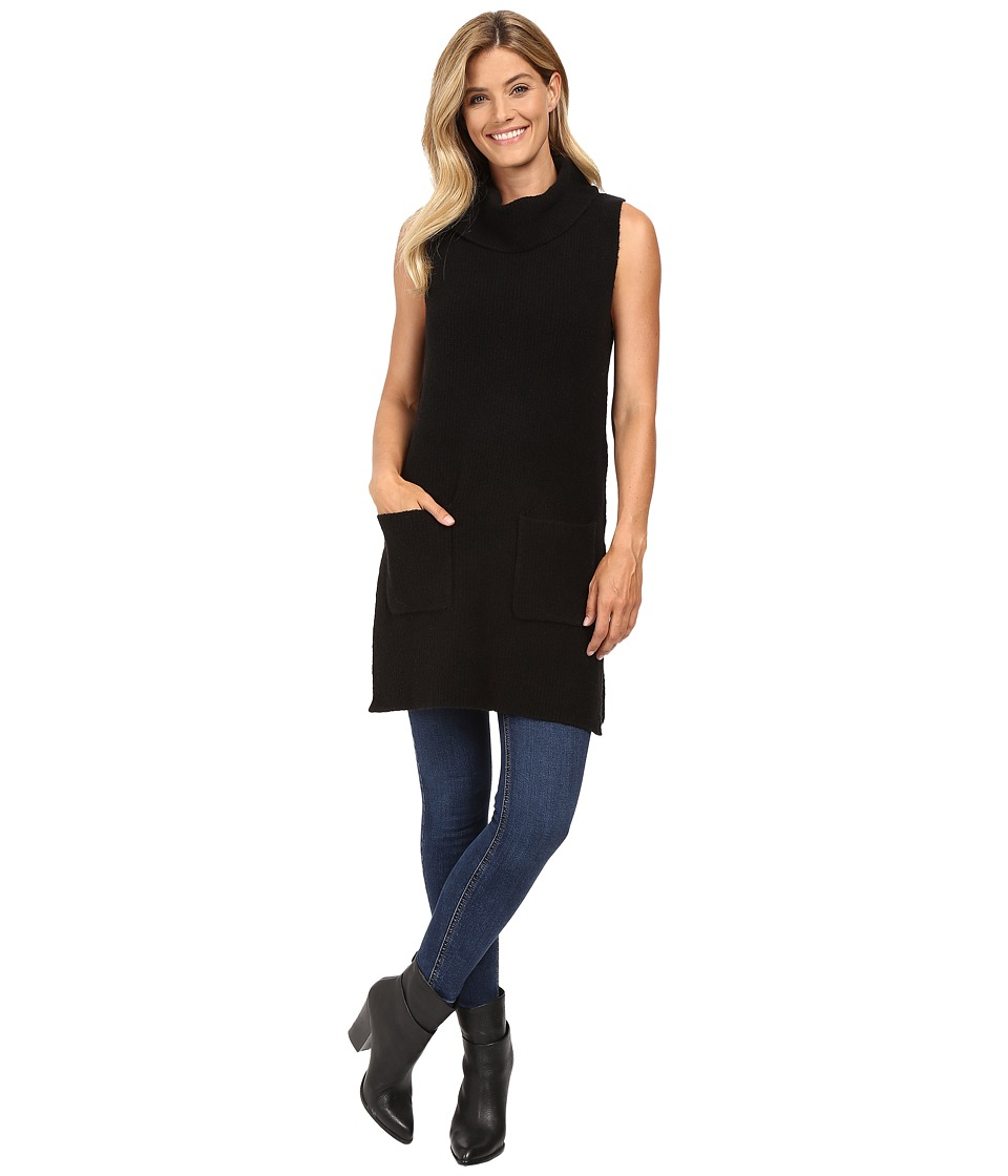 Vince Camuto - Sleeveless Turtleneck Two-Pocket Boucle Sweater Tunic (Rich Black) Women's Sweater
