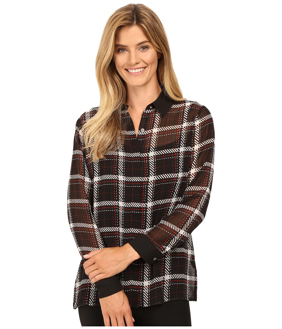 Vince Camuto - Long Sleeve Harbor Plaid Button Front Blouse (Rich Black) Women's Blouse