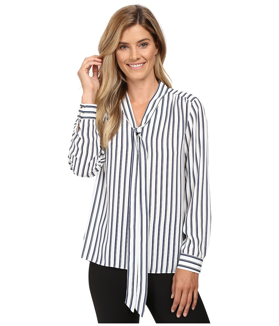 Vince Camuto - Long Sleeve Cargo Stripe Tie Neck Blouse (Antique White) Women's Blouse