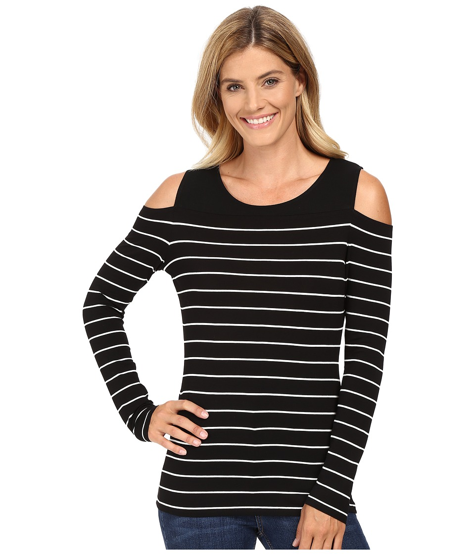 Vince Camuto - Long Sleeve Willow Stripe Cold-Shoulder Top (Rich Black) Women's Clothing