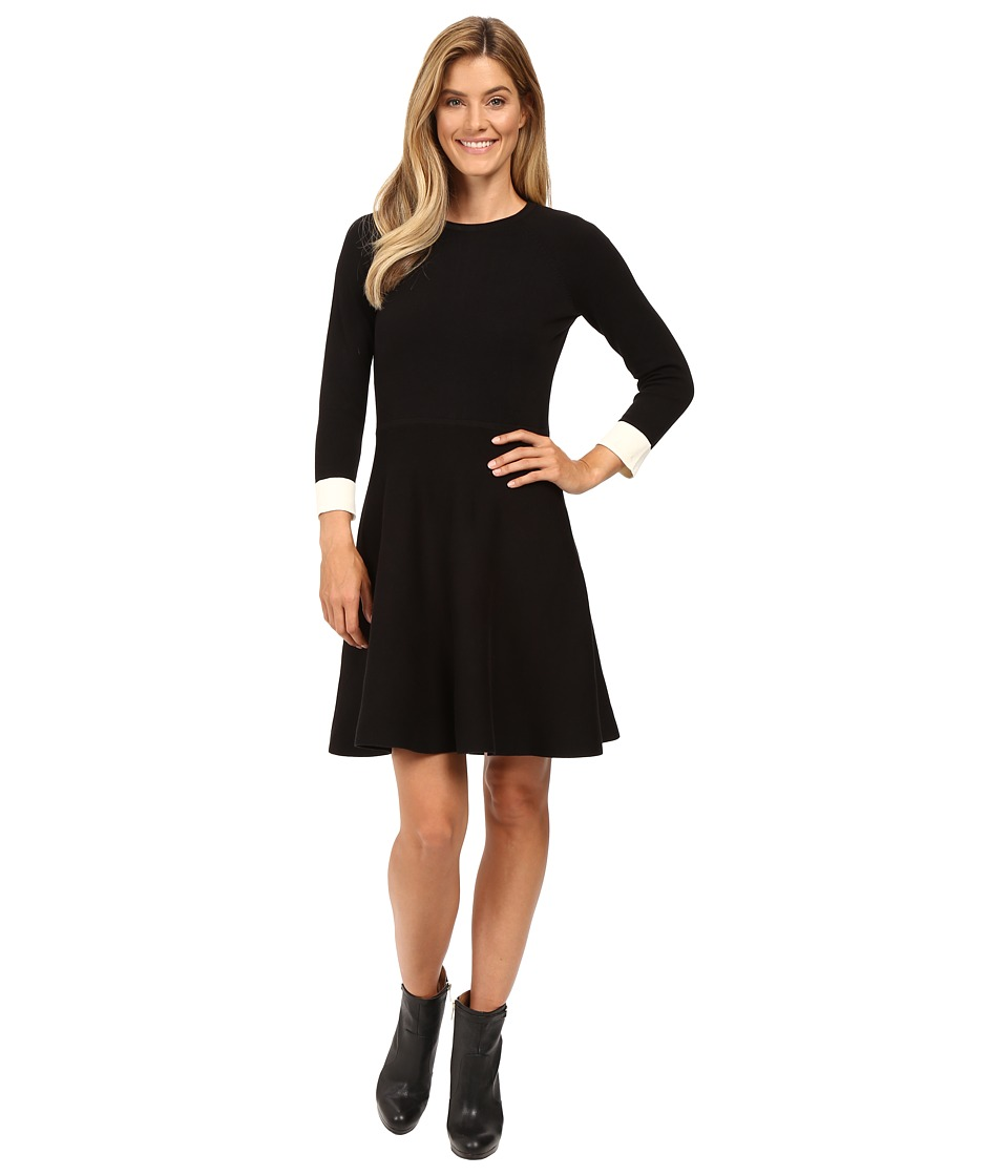 Vince Camuto - Long Sleeve Flare Sweater Dress (Rich Black) Women's Dress