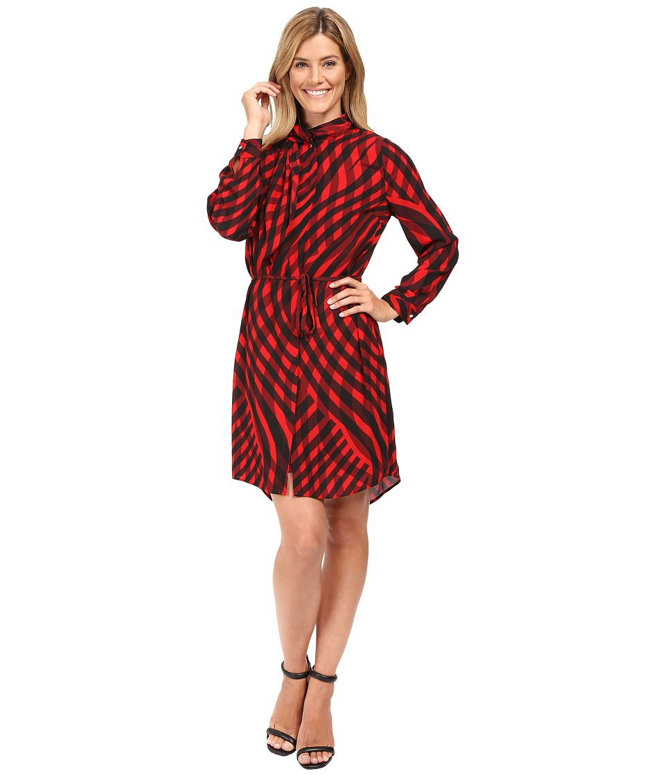 Vince Camuto - Long Sleeve Swept Check Belted Dress with Neck Scarf (Radiant Red) Women's Dress