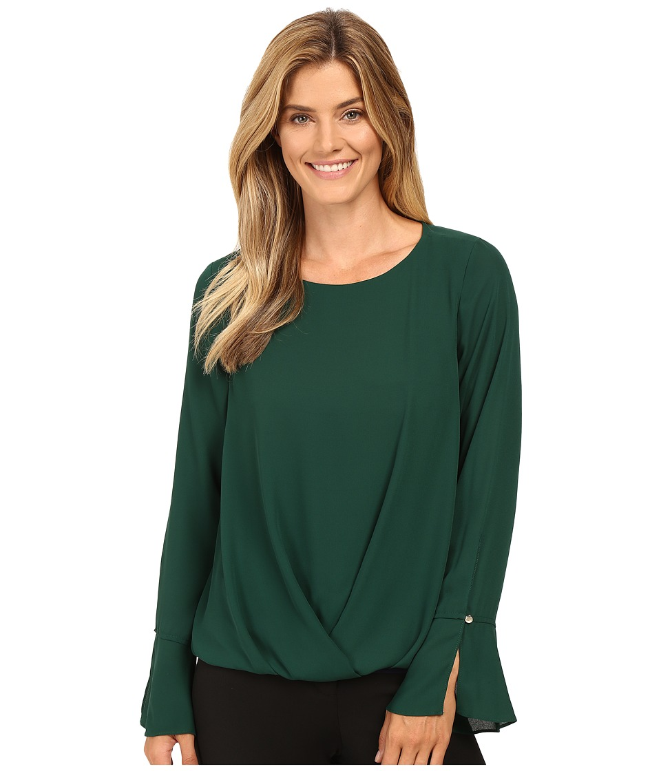 Vince Camuto - Flutter-Cuff Fold-Over Blouse (Forest Night) Women's Blouse