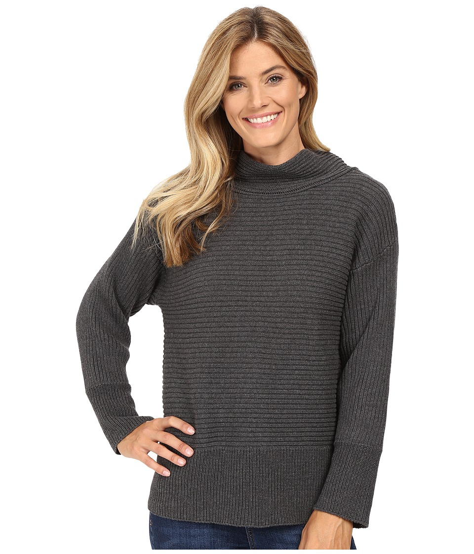 Vince Camuto - Long Sleeve Turtleneck Ribbed Sweater (Medium Heather Grey) Women's Sweater