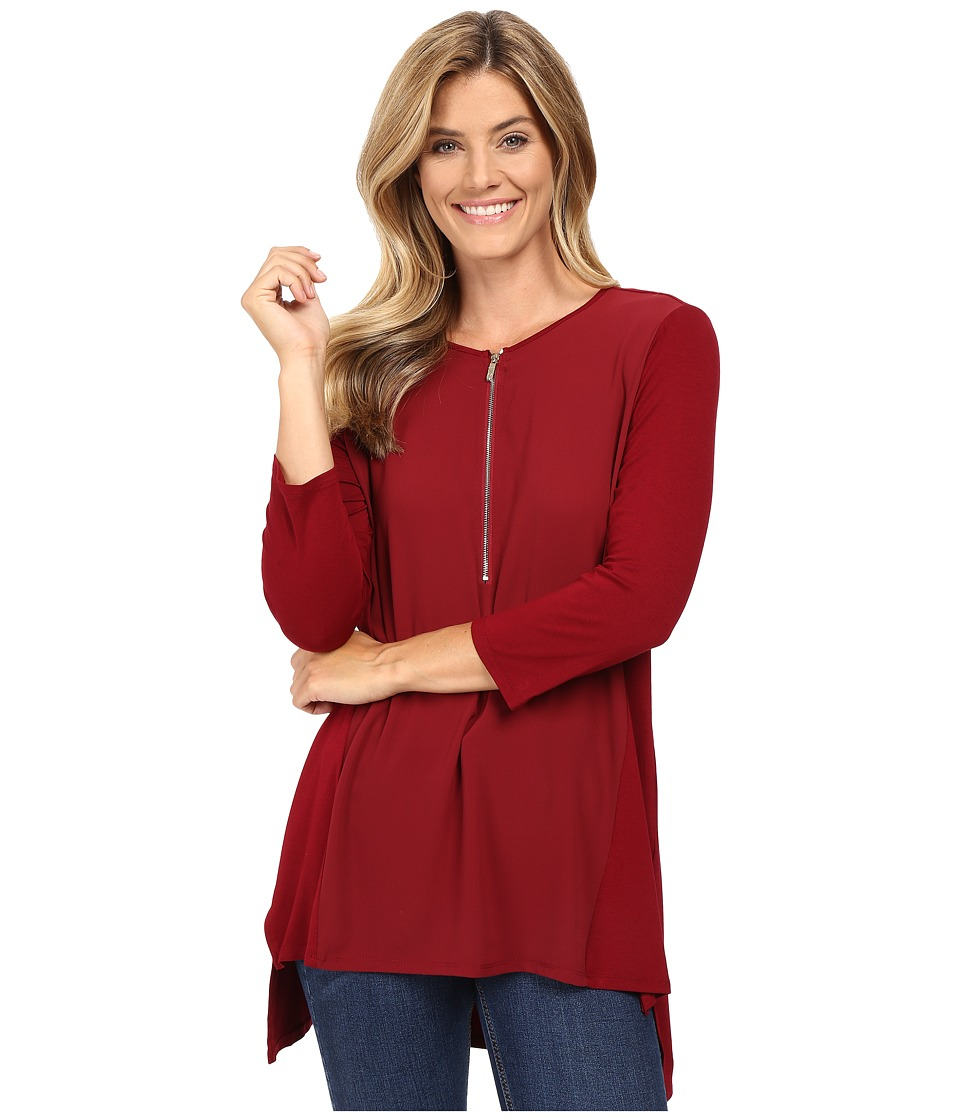 Vince Camuto - 3/4 Sleeve Soft Texture 1/2 Zip Top (Malbec Red) Women's Clothing