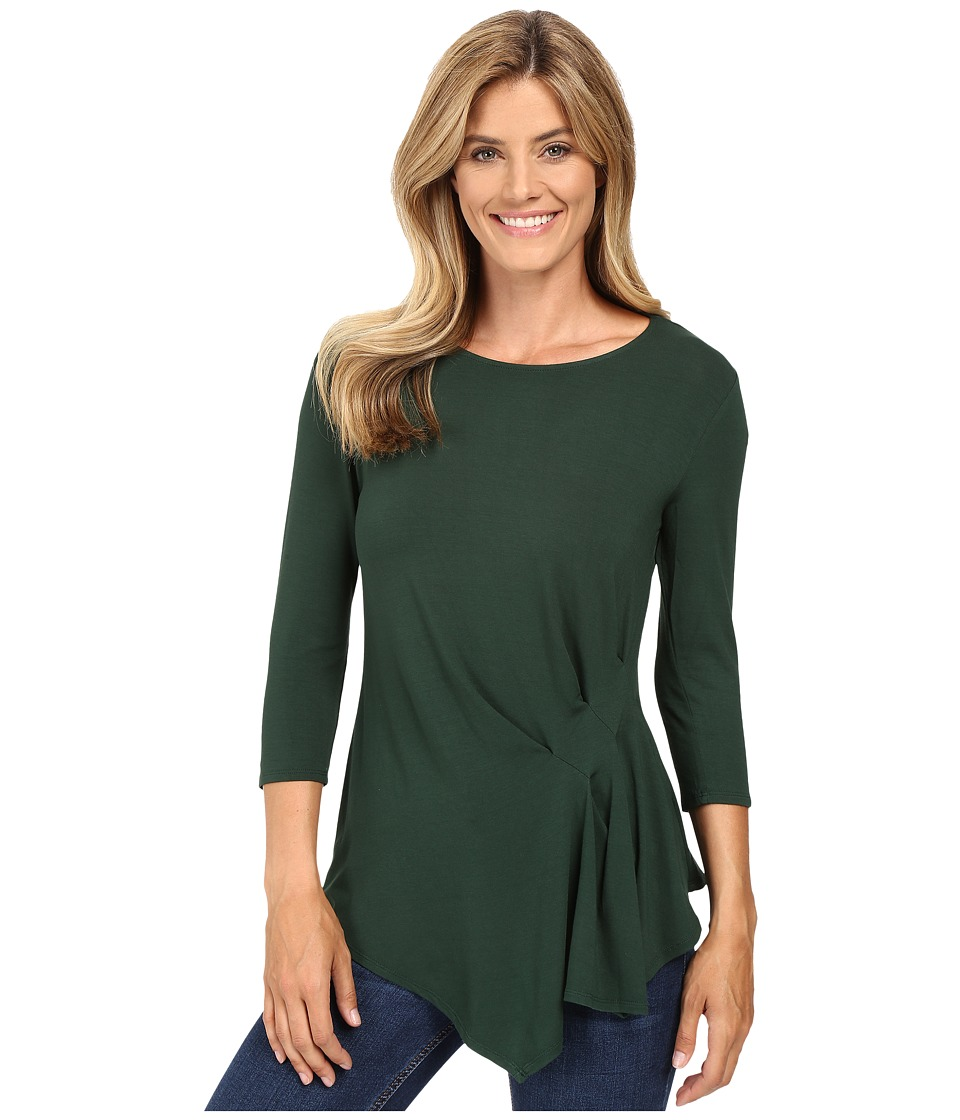Vince Camuto - 3/4 Sleeve Side Ruched Top (Forest Night) Women's Clothing