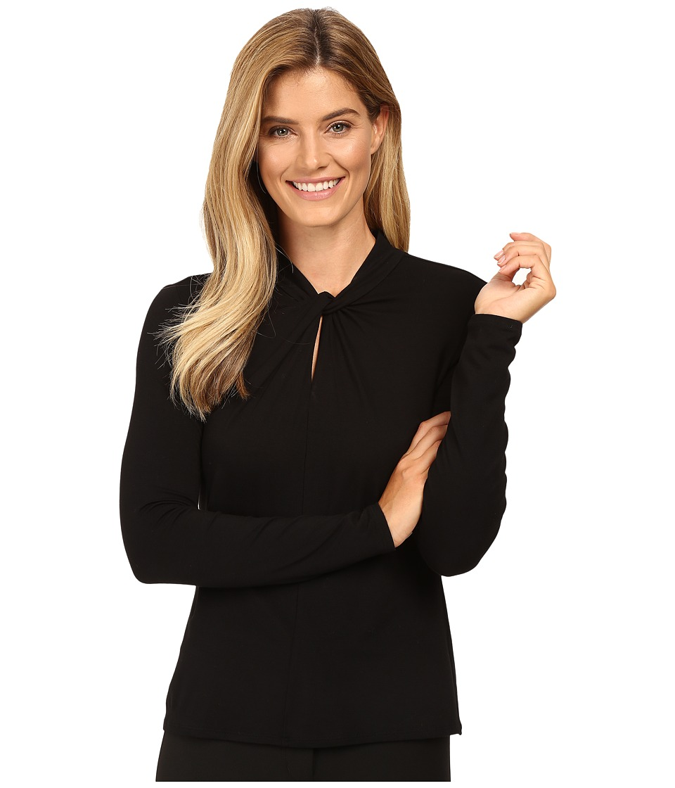Vince Camuto - Long Sleeve Twist Neck Keyhole Top (Rich Black) Women's Clothing