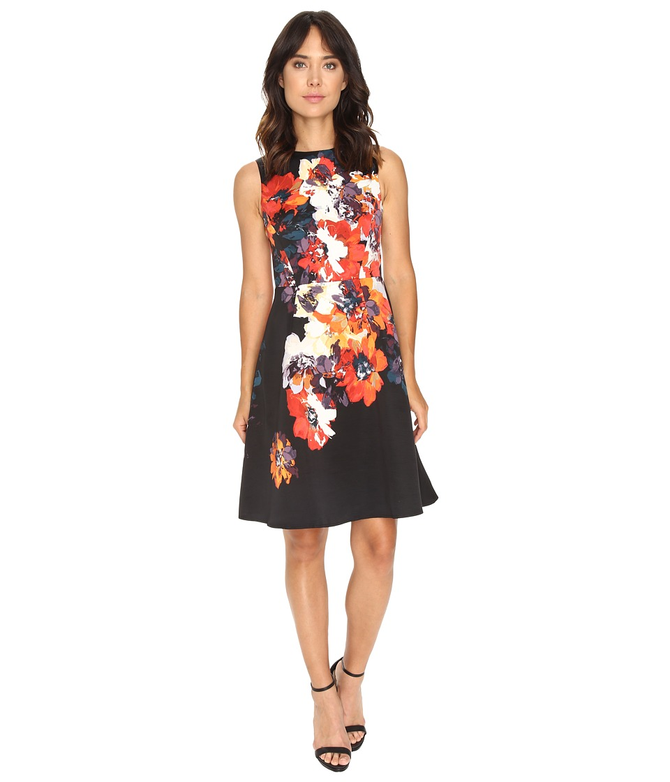 Maggy London - Hot House Flower Print Faille Fit Flare Dress (Soft White/Red) Women's Dress