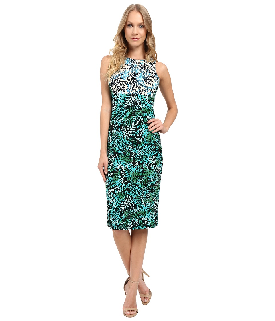Maggy London - Twin Fern Printed Jersey Sheath Dress (Grey/Blue) Women's Dress