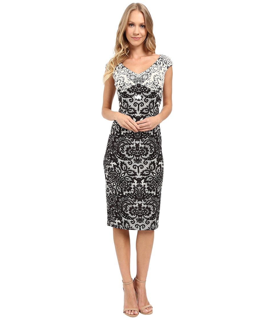 Maggy London - Twin Lace Jersey Sheath Dress (Ivory/Black) Women's Dress