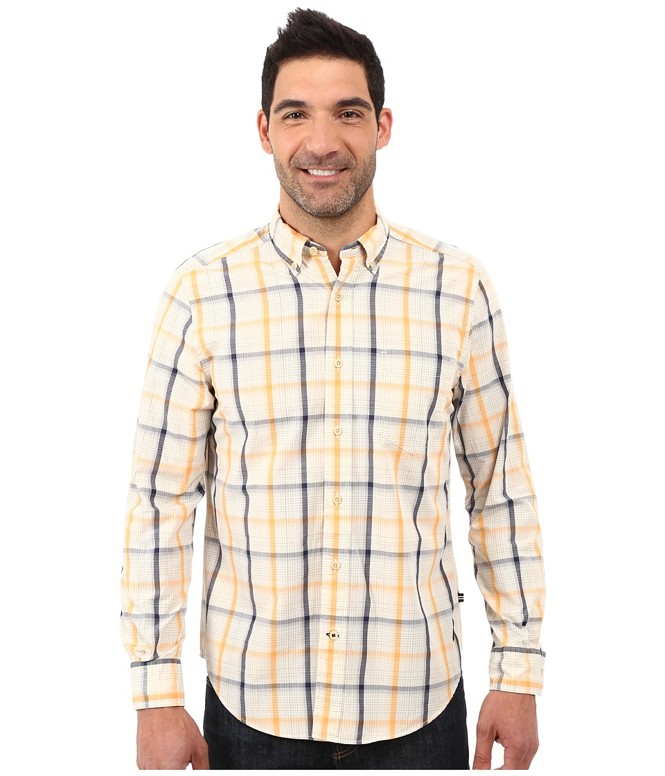 Nautica - Long Sleeve Large Plaid Shirt w/ Pocket (Orange Sherbert) Men's Long Sleeve Button Up