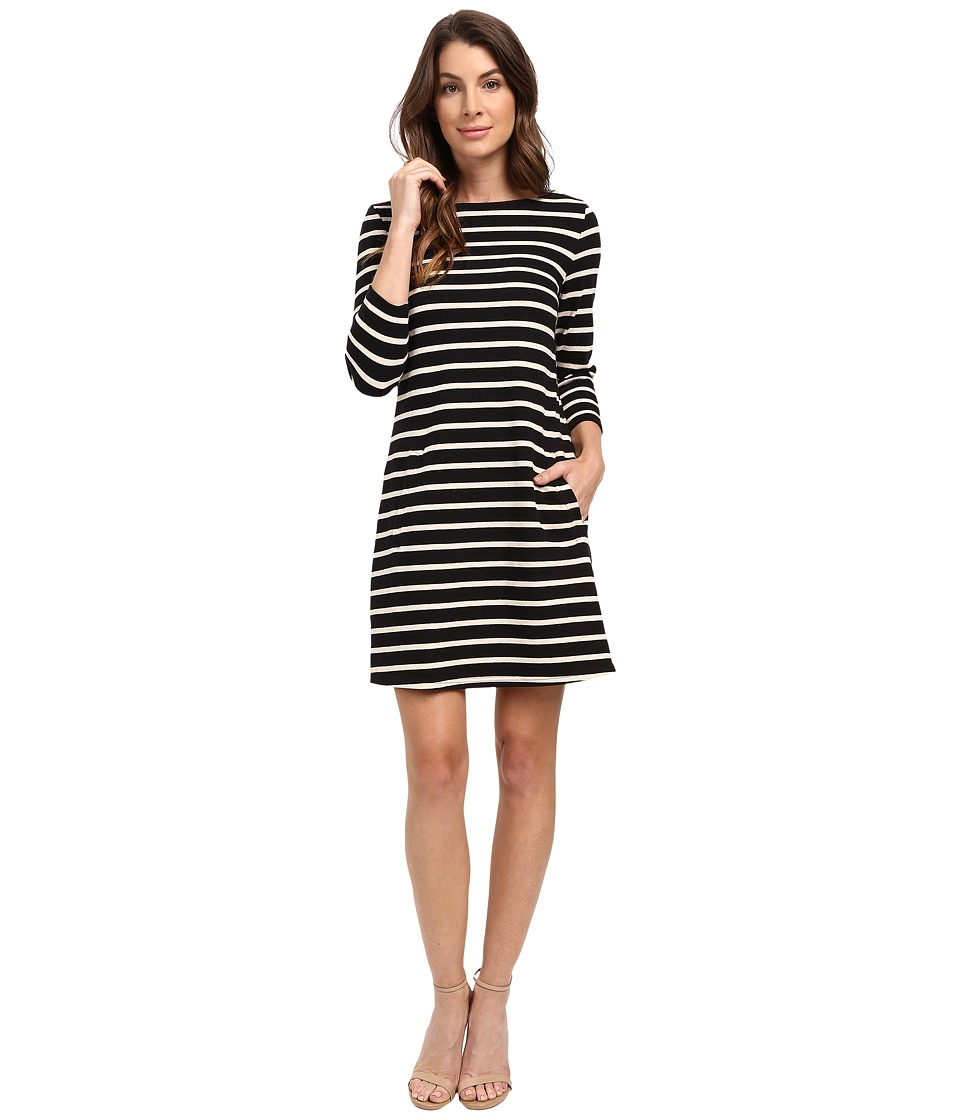 Lilla P - Heavy Stripe Jersey 3/4 Sleeve A-Line Dress (Black/Muslin) Women's Dress