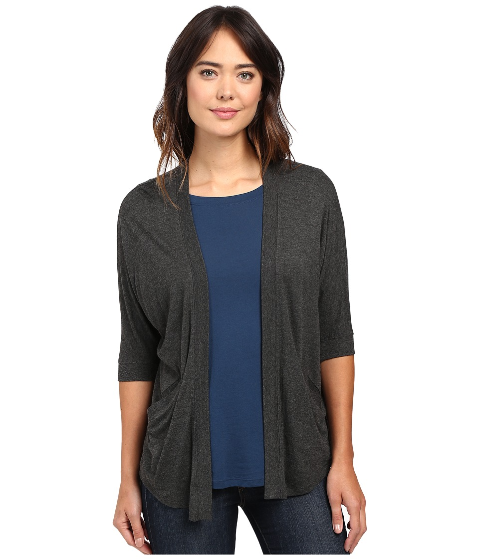 Lilla P - Liquid Terry Dolman Sleeve Open Cardigan (Charcoal) Women's Sweater