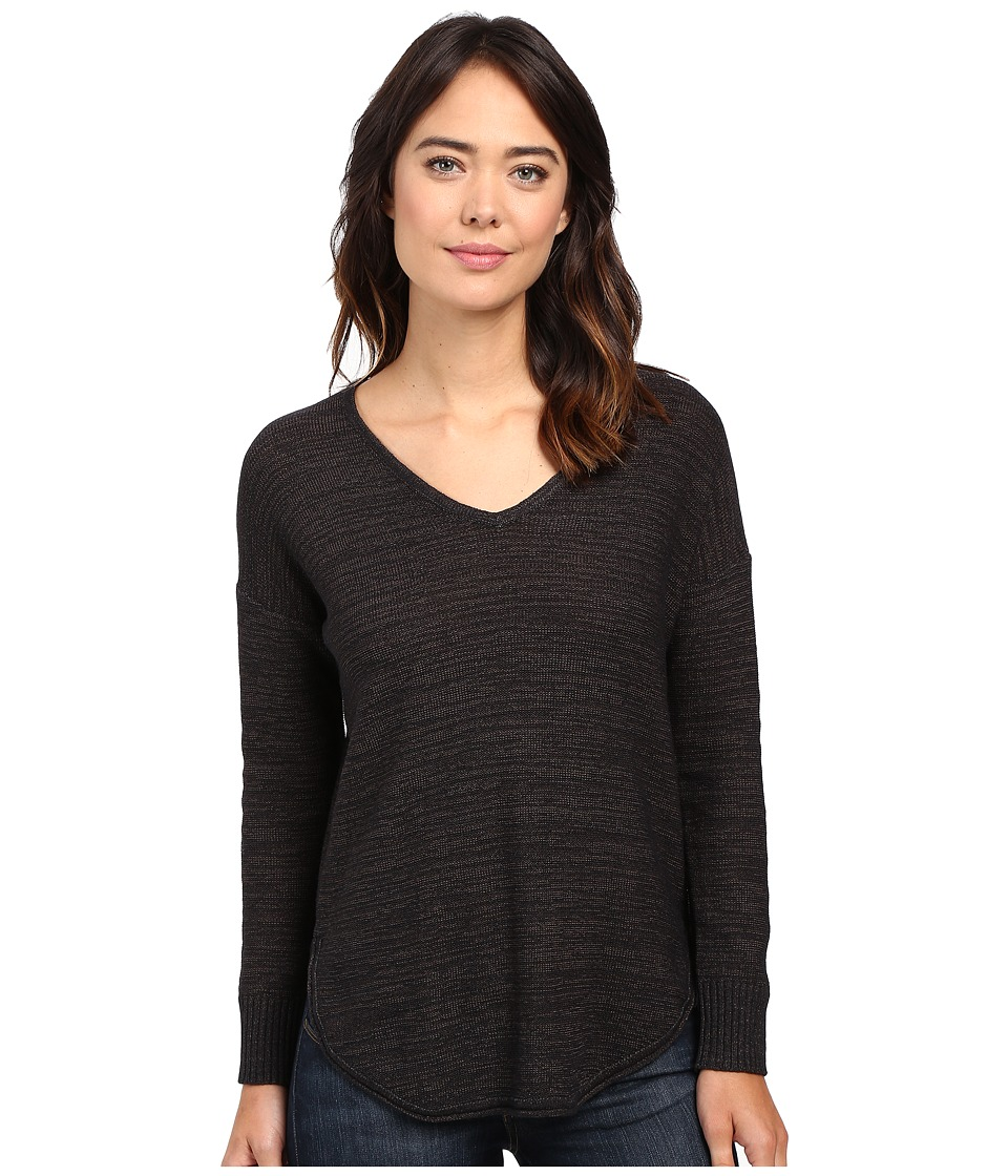 Lilla P - Slub Tape Yarn L/S V-Neck (Black Pebble) Women's Clothing