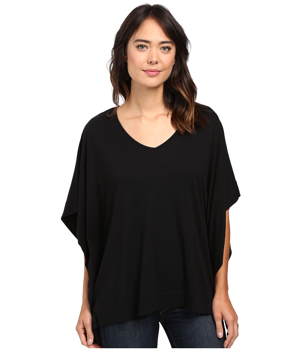 Lilla P - Pima Modal Oversized V-Neck (Black) Women's Clothing