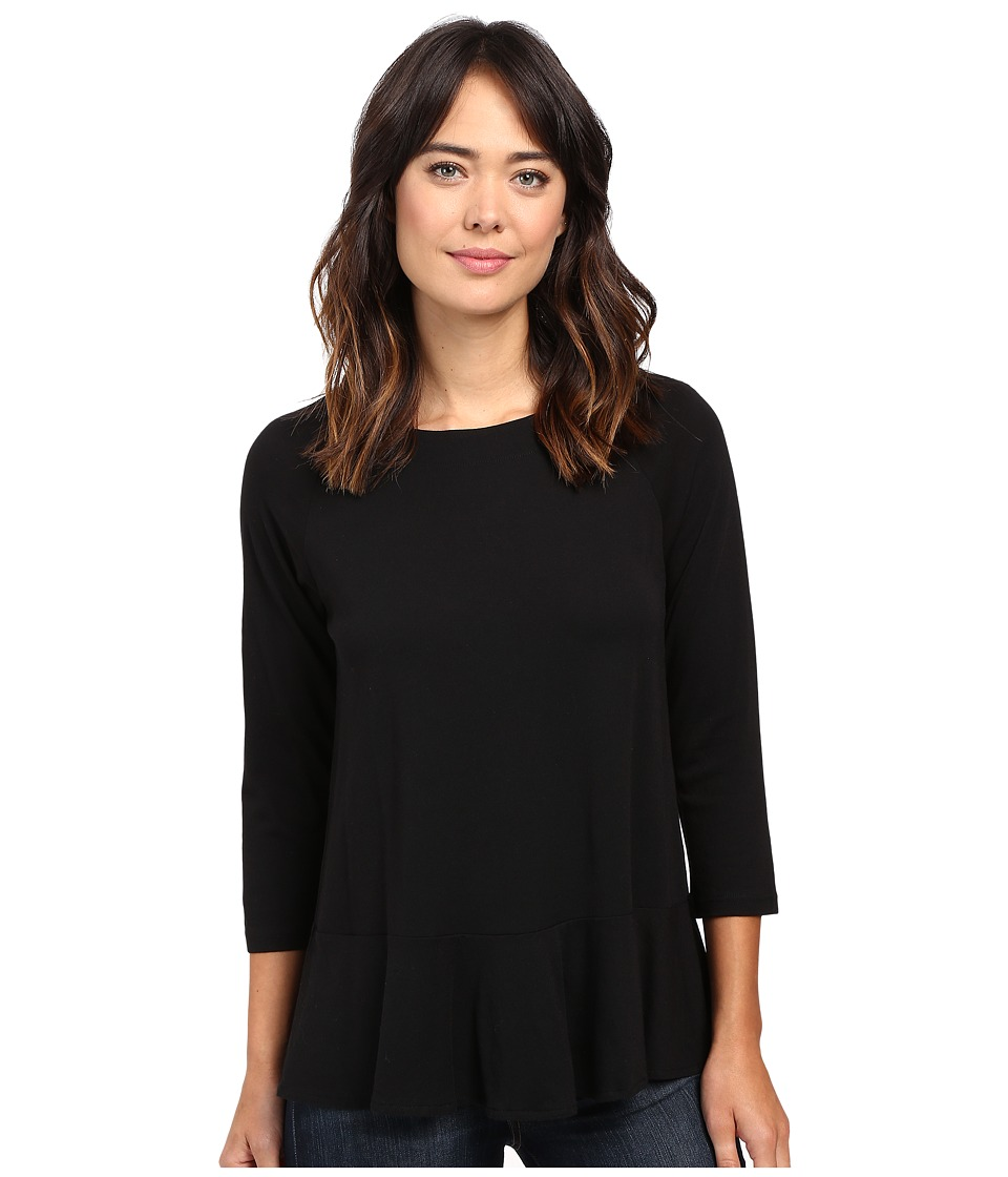 Lilla P - Pima Modal Flared Hem Top (Black) Women's Clothing