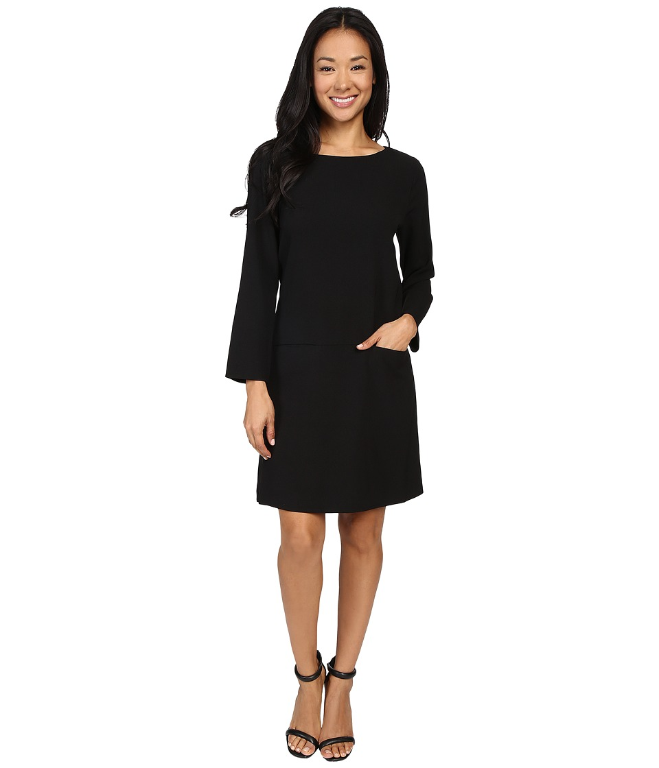 Lilla P - Crepe Pocket Front Dress (Black) Women's Dress