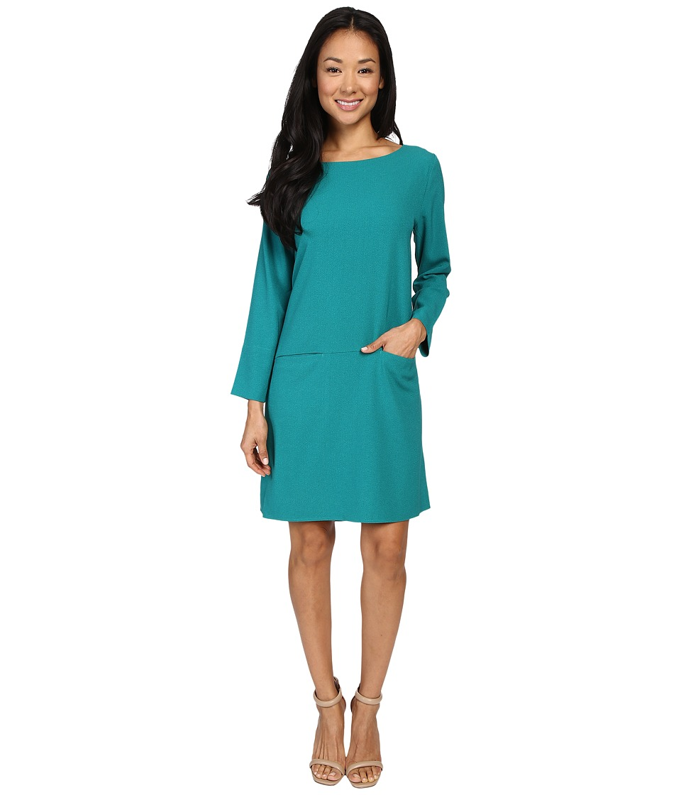 Lilla P Crepe Pocket Front Dress (Emerald) Women