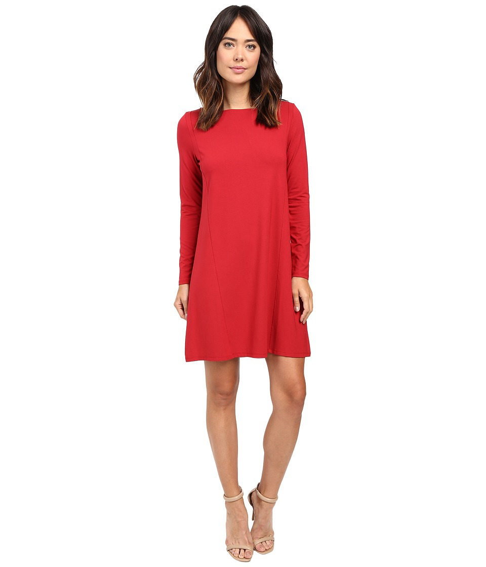 Lilla P Stretch Jersey Long Sleeve Seamed Dress (Garnet) Women