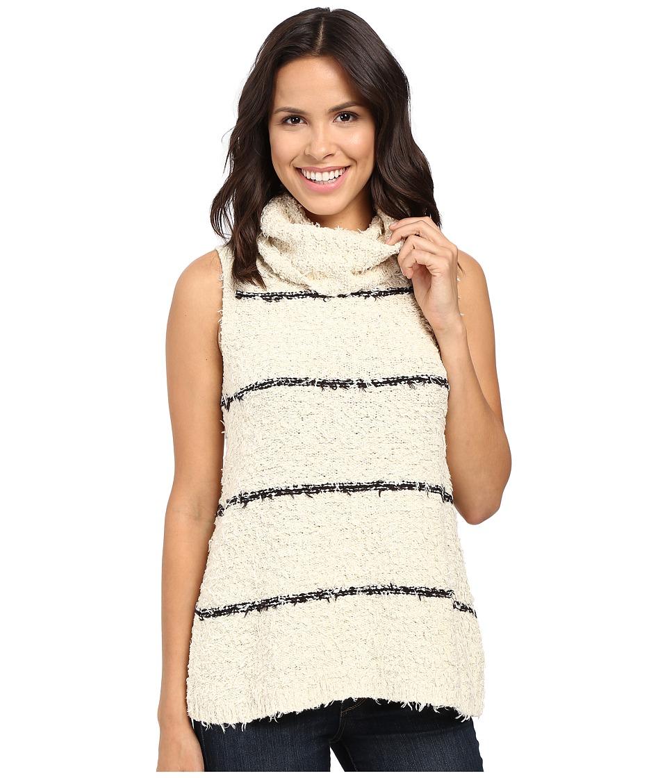 Lilla P - Fringe Yarn Sleeveless Turtleneck (Oat Stripe) Women's Sleeveless