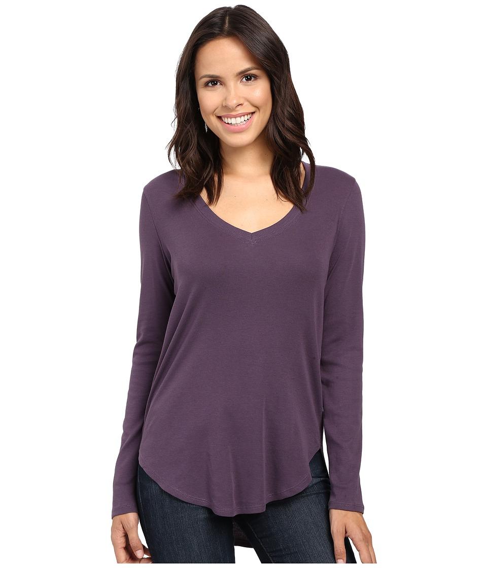 Lilla P - Fine Rib Long Sleeve V-Neck (Nightshade) Women's Clothing