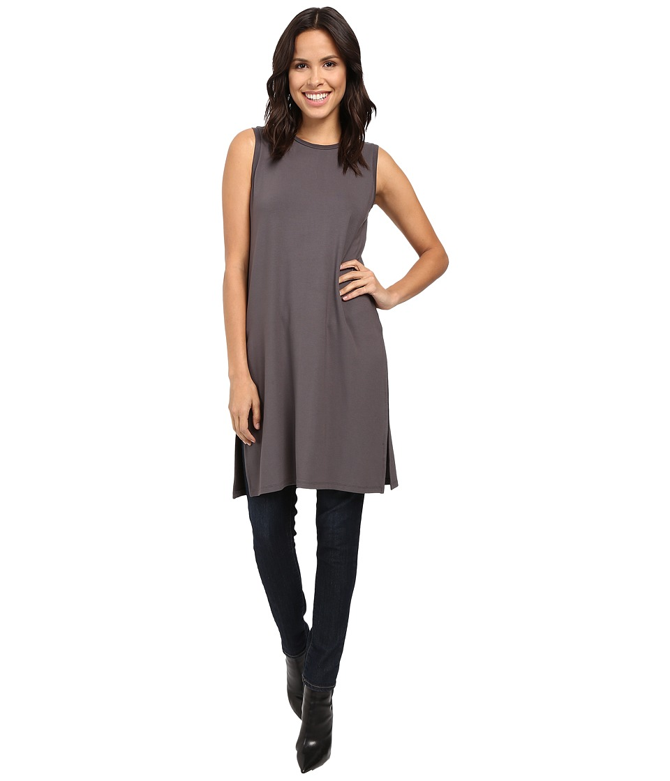 Lilla P - Stretch Jersey Side Slit Tunic (Pewter) Women's Blouse