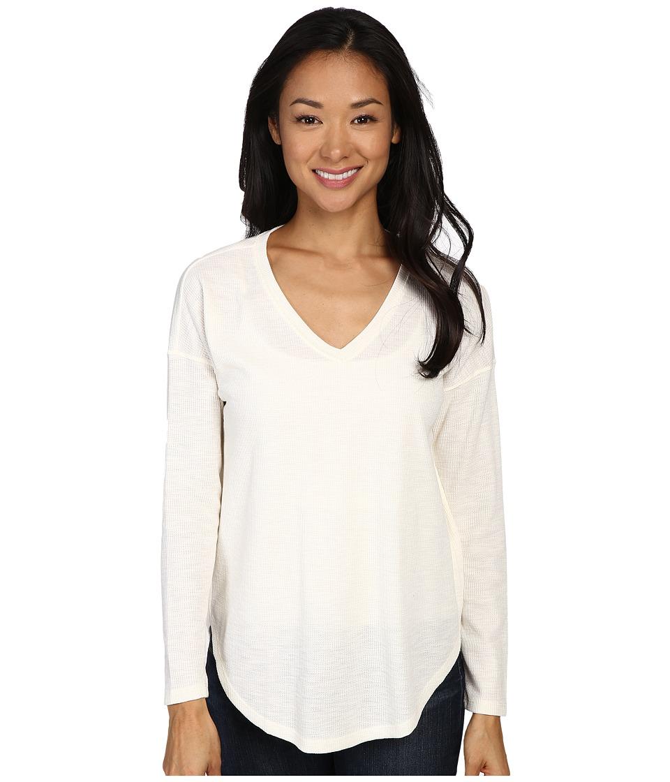 Lilla P - Waffle Long Sleeve Dropped Shoulder V-Neck (Heather Antique White) Women's Clothing