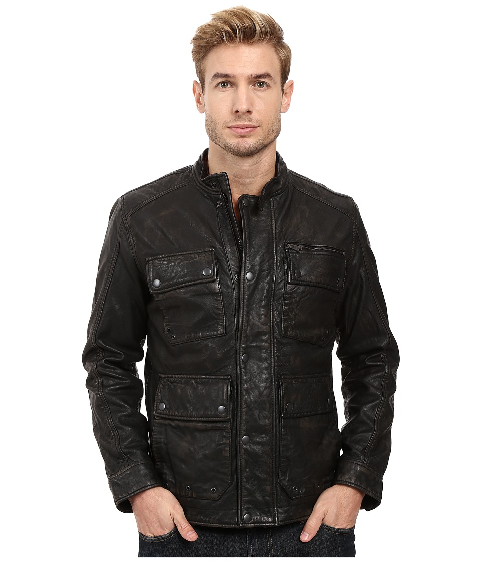 Lucky Brand - Manx Leather Jacket (Black) Men's Coat