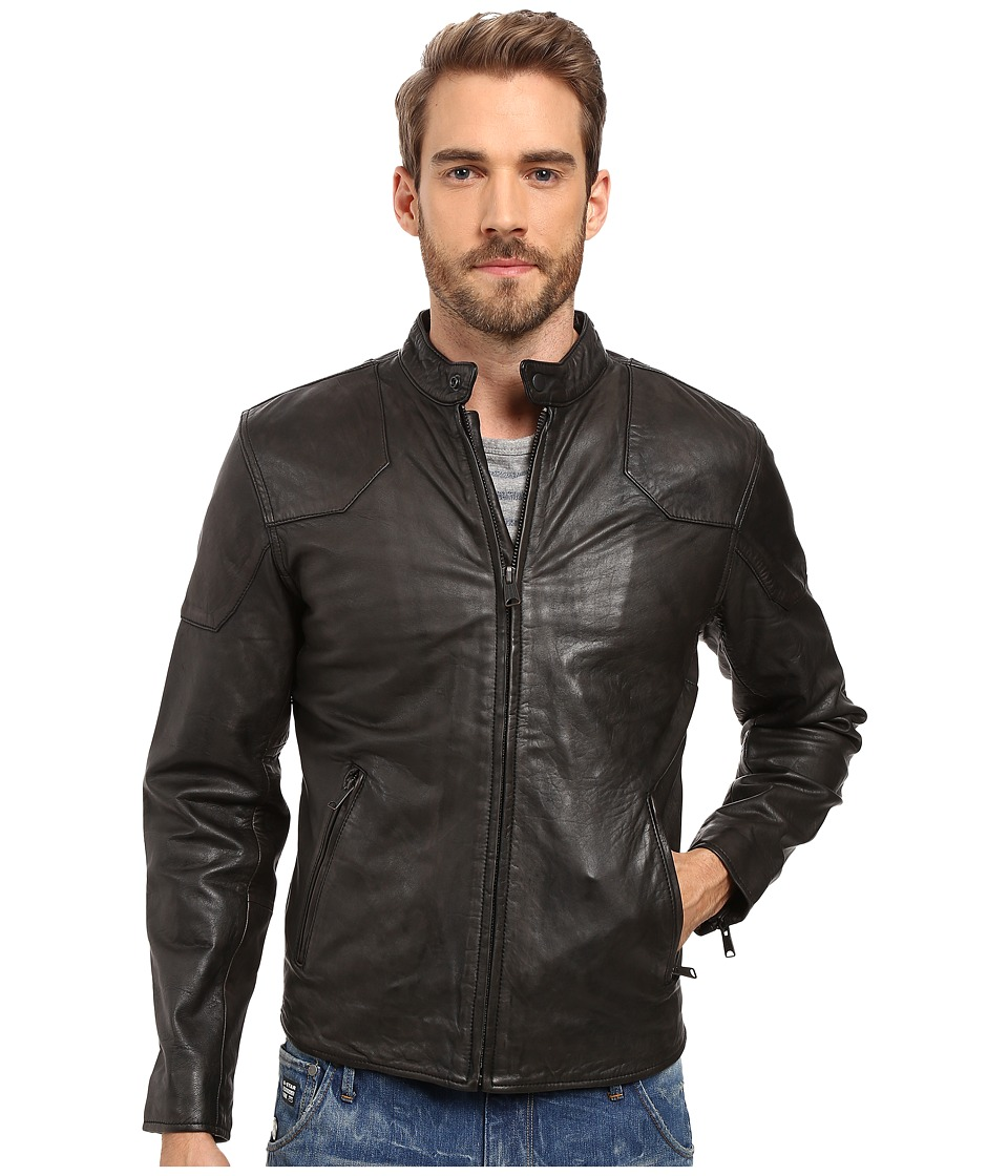 Lucky Brand - Thruxton Leather Jacket (Washed Black) Men's Coat