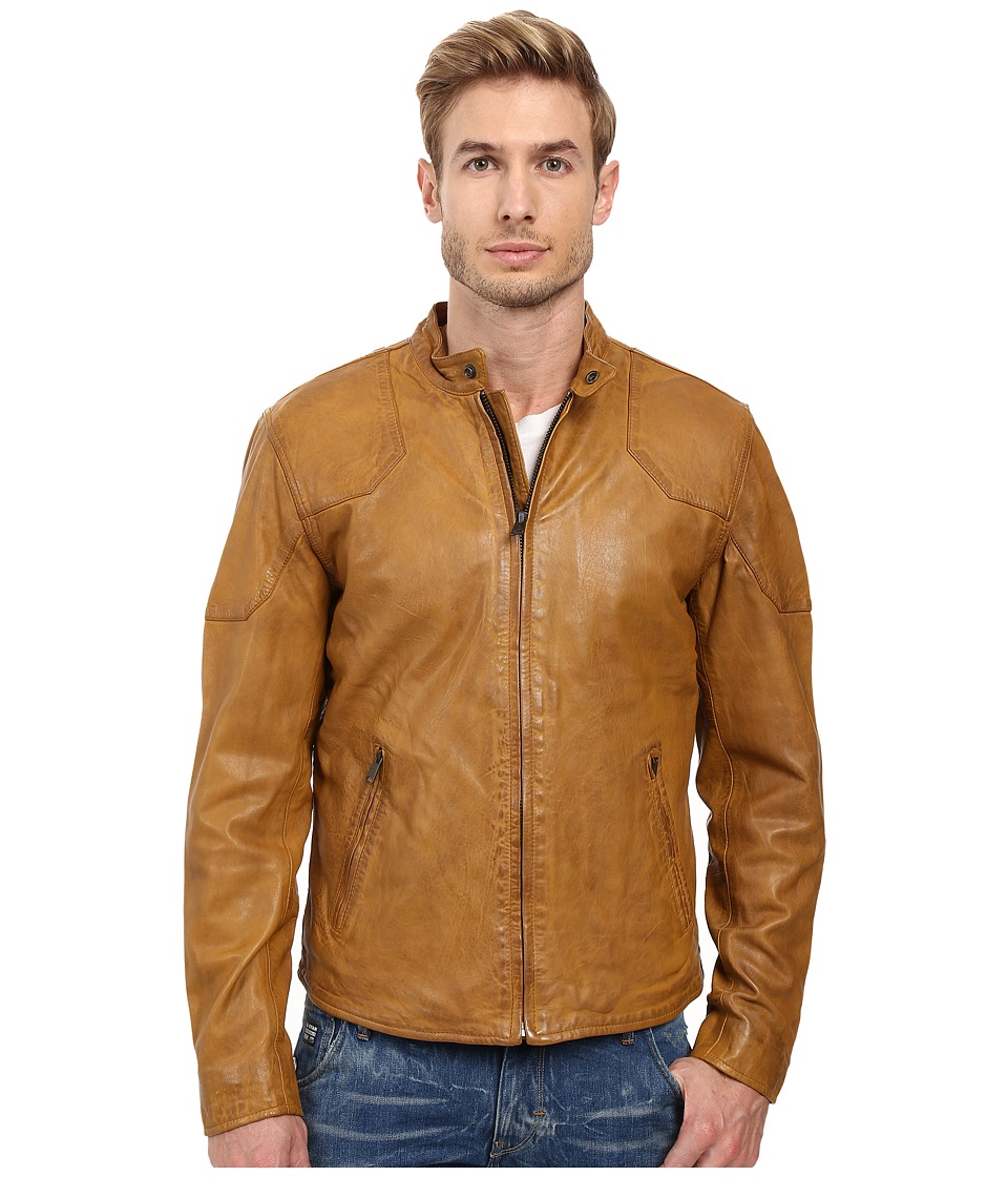 Lucky Brand - Thruxton Leather Jacket (Honey Colour) Men's Coat