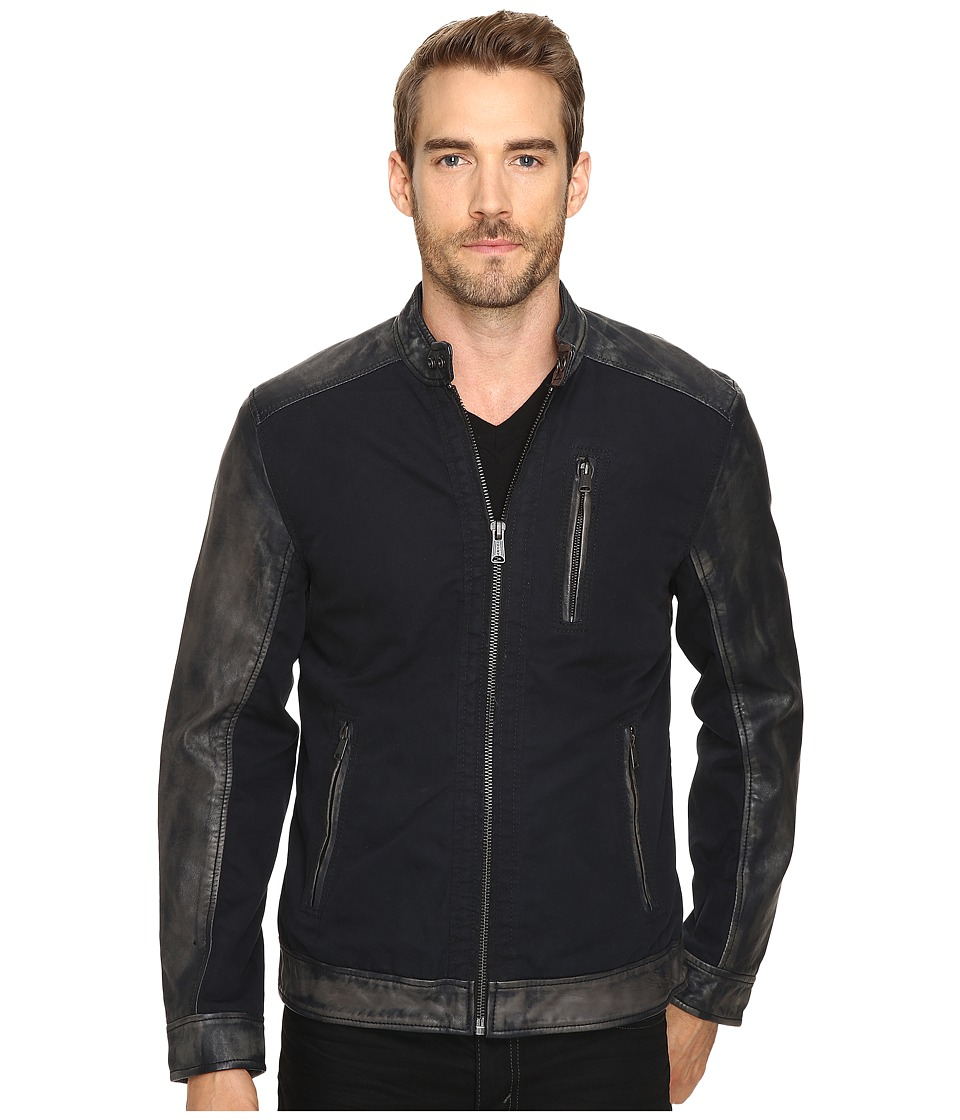 Lucky Brand - Cotton Leather Jacket (Black) Men's Coat
