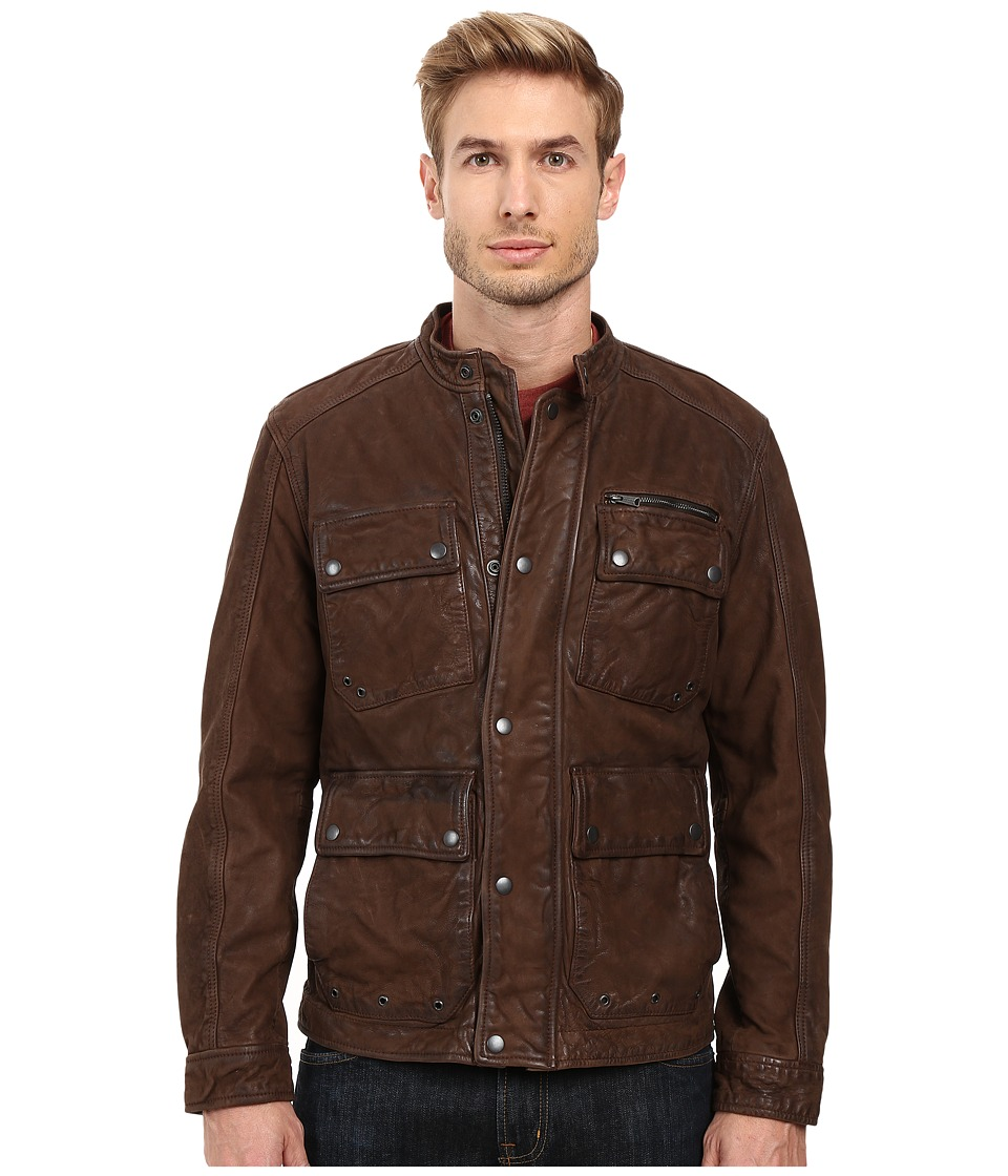 Lucky Brand - Manx Leather Jacket (Brown) Men's Coat