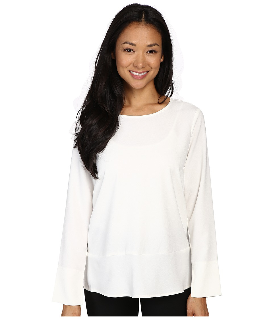 Lilla P - Crepe Long Sleeve Blouse (Winter White) Women's Blouse