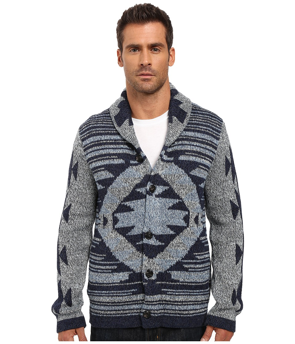 Lucky Brand - Ladder Back Jaquard Shawl Cardigan (Multi) Men's Sweater
