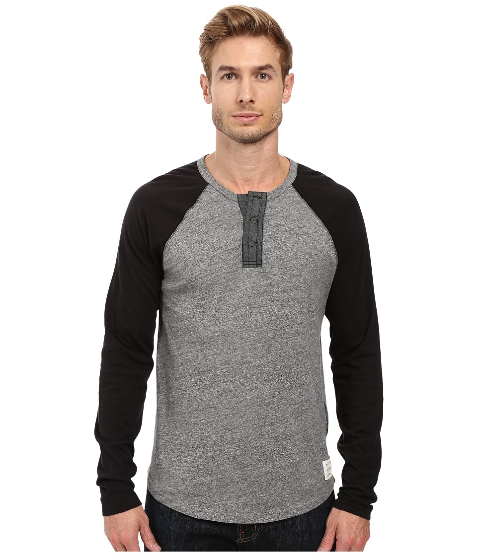 Lucky Brand - Grey Label Color Block Henley (Black) Men's Clothing