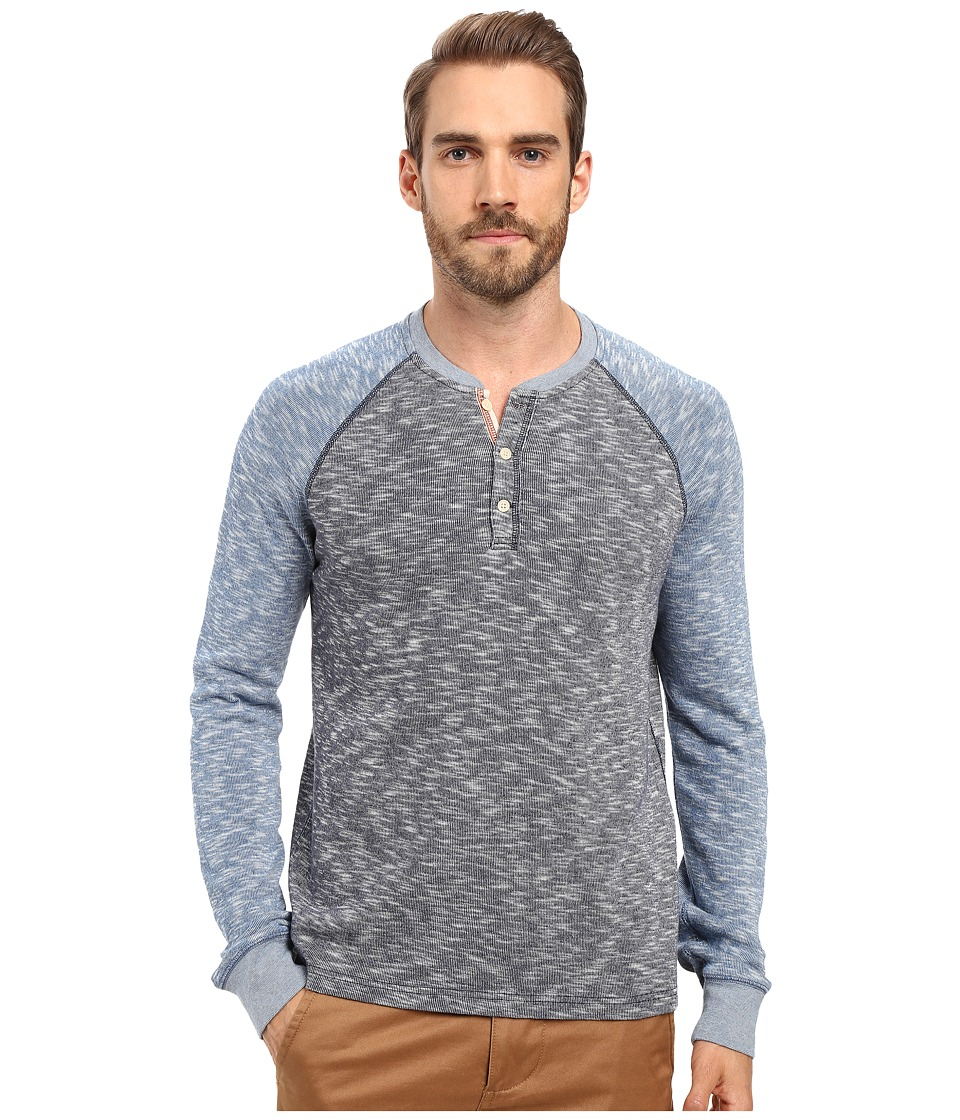 Lucky Brand - Grey Label Color Block Henley (Blue Multi) Men's Clothing