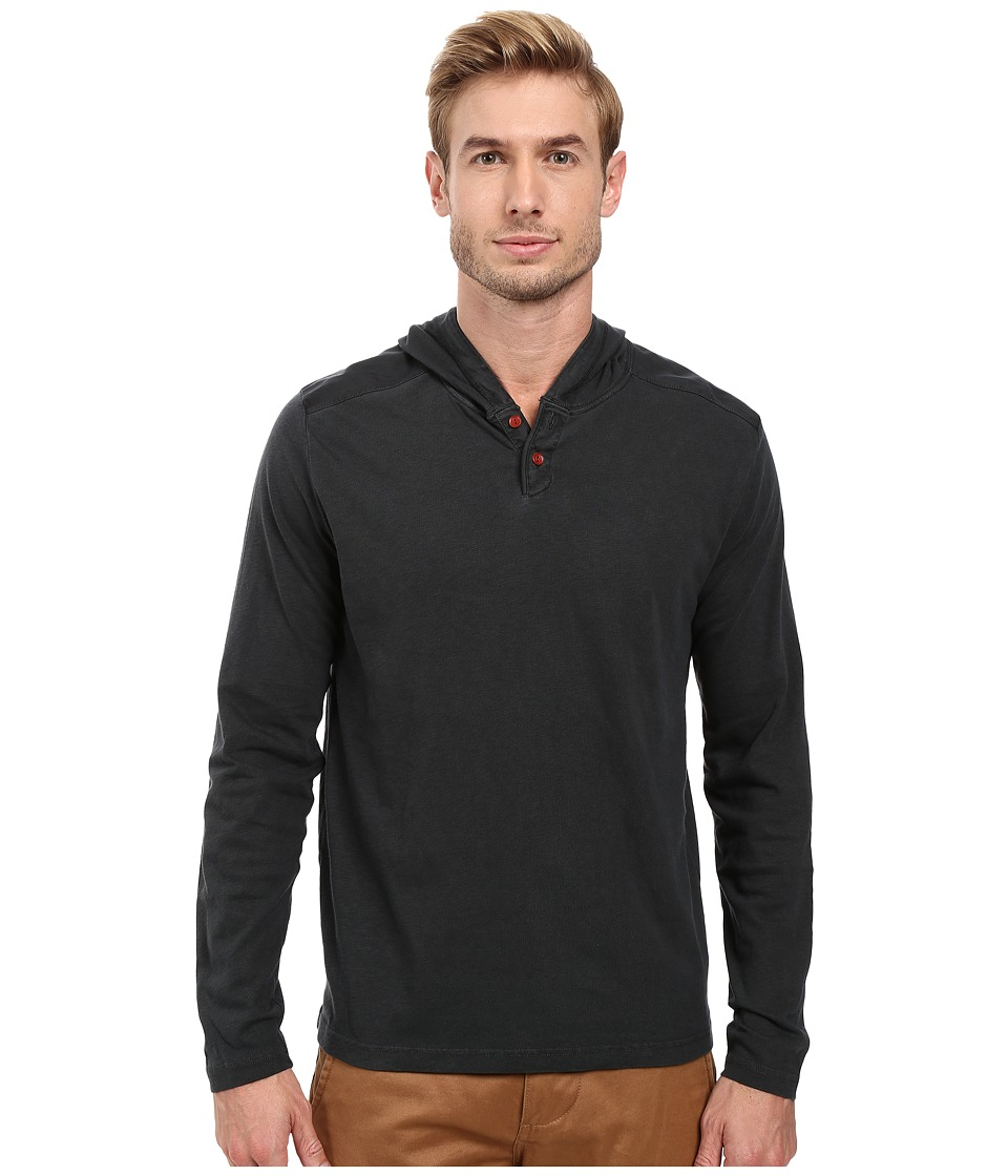 Lucky Brand - Two-Button Henley with Hood (Jet Black) Men's Clothing